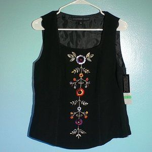 Josephine Chaus Size 8 embroidered black silk top